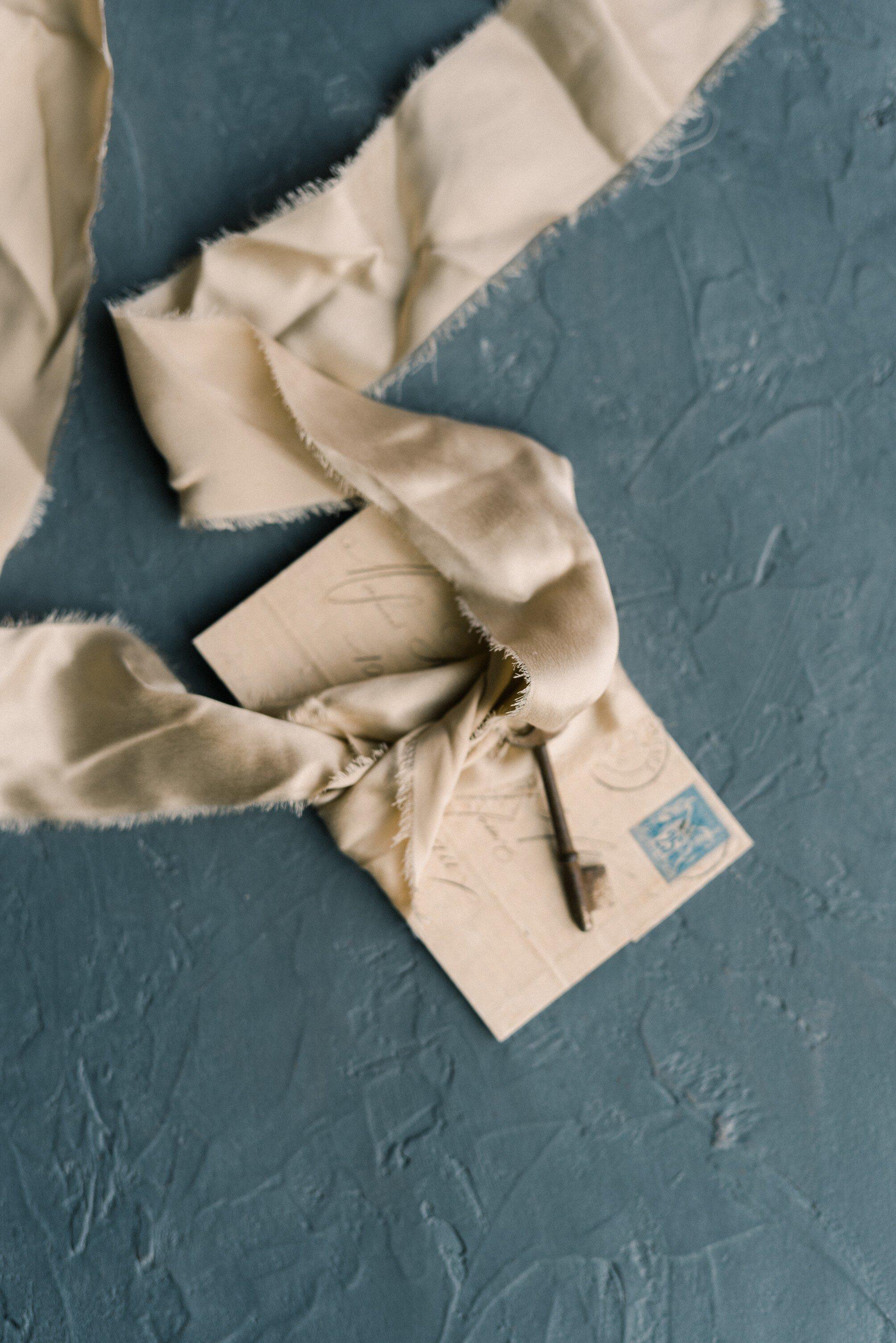 Dreamy beige silk velvet ribbons for pretty wedding calligraphy invitation idea
