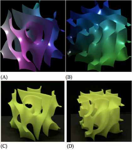 Figure 6. Simulated and 3D printed complex nodal surfaces.  Nodal surfaces for the state in [Eq. (15)] are shown. (A) is the real part and (B) is the imaginary part. (C-D) 3D-printed versions of the same surfaces are displayed.