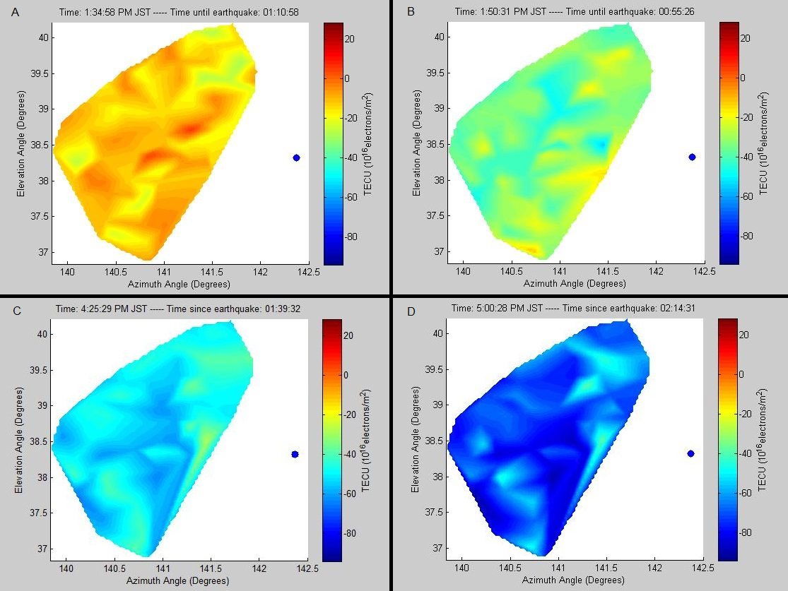 Figure 1. Images of heat maps of TEC over the 100 closest receivers to the epicenter of the earthquake on the day of the earthquake (March 11, 2011) for four different time points . These times show enhanced TEC (A), a sudden depletion (B), and the large fluctuations following (C and D) The X- and Y-axes represents the longitude and latitude, respectively.
