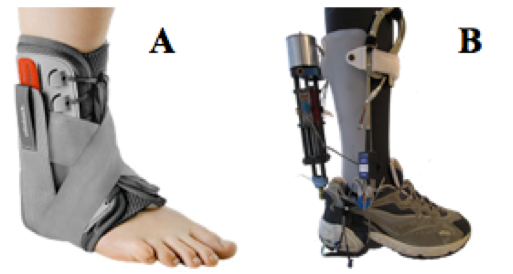 Figure 1: Passive vs. Active Ankle-Foot Orthosis.  This figure shows a comparison of a passive (A) and active (B) AFO. Passive AFOs simply immobilize the ankle and foot while active AFOs assist the ankle and foot in replicating human gait (Blackwell, Lucas, & Clarke, 2014).