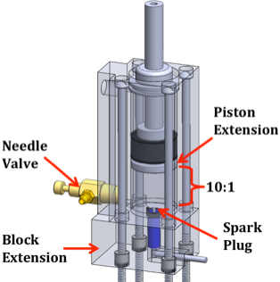 Figure 3: Walking Engine.  This figure shows a CAD model of the modified Bosch pneumatic actuator used to power the AAFO. By adding a fuel line (needle valve) and ignition source (spark plug), an off-the-self pneumatic actuator was turned into a small IC engine.
