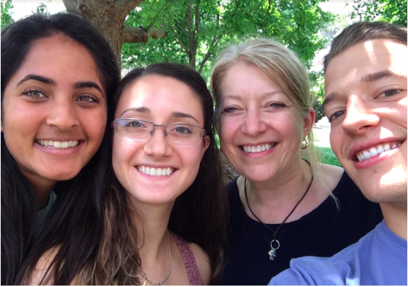 Lisa with some members of last summer's research team: (Left to right) Kavitha Prasanna, Jessica Ordax, Lisa Satterwhite, Coulter Knapp