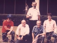 Founders of the Buckyball Back: Robert Curl (Rice University) Left to Right Front Row: Jim Heath (Graduate Student, now a full professor at Caltech), Richard Smalley (Rice University), Sir Harry Kroto (Florida State University, University of Sussex), Sean O'Brien (Graduate Student, now works at Texas Instrument) Image courtesy of Sir Harry Kroto.
