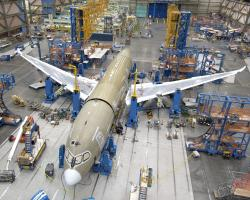 The final assembly of the fifth Boeing 787 began early in May 2008. Delays withstanding, consumers can expect to see these aircrafts in service in late 2010. Image copyright of Boeing.