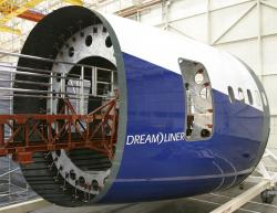 As evidenced by the 787 Dreamliner composite fuselage section, the use of composite materials reduces the number of components needed in the aircraft and improve the aerodynamic performance of the aircraft. The fuselage section composes of a single, full composite barrel with integrated stringers. Image copyright of Boeing.