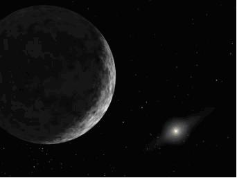 Figure 2. An icy rock or an object worthy of planethood'? An artist's rendition of the view from distant 2003 UB313. Image credit: NASA Jet Propulsion Laboratory