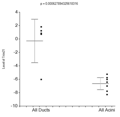 Figure 4. Increased expression of lactotransferrin (Lft) in ducts as compared to acini, irrespective of disease state. Gene expression is expressed as log2 compared to reference standard. The difference between ducts and acini is significant (p=0.002).
