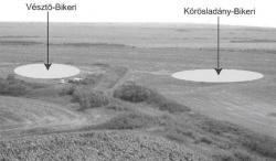 Figure 2. This aerial view depicts the close proximity of Vésztő-Bikeri (V-20) and (Körösladány-Bikeri) K-14, located in the Carpathian Basin. The light ovals represent surface distribution (Parkinson, et al. 2004).