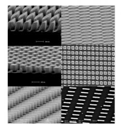 Figure 3. SEM images of nanoparticles fabricated using NIL.