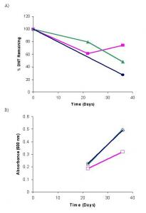 Figure 1. Anaerobic JA40 bacteria growth and DNT degradation, sampled on days 22 and 36 for n = 1. A) Percent DNT remaining in cultures composed of JA40+DNT+Glucose (●), DNT+Glucose (■), and JA40+DNT with no carbon source (▲). B) Bacterial growth readings taken at 600 nm for the cultures JA40+DNT+Glucose (●), DNT+Glucose (■), and JA40+DNT with no carbon source (▲).