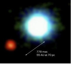 The only exoplanet to have been directly visualized: planet 2M1207b (red) orbits its star 2M1207 (blue). This image was captured by the European Southern Observatory's Very Large Telescope in 2005.