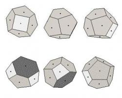 Figure I. Voronoi construction for the cluster N = 10. The upper row shows three orientations of the ground state; the lower row shows three orientations of a metastable (excited) state. White cells are quadrilaterals, gray cells are pentagons, and dark cells are hexagons.