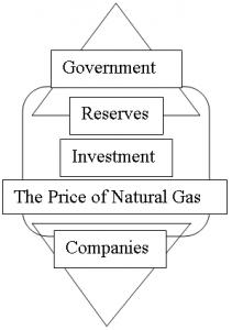 Figure 3 - The Players of the Argentine Natural Gas Economy: The government and companies of the natural gas economy have different perspectives. On the government side, reserve life is the most important issue, second, investment, and finally the selling price of natural gas. In contrast, companies are primarily concerned with the selling price of natural gas, second, the level of investment in the economy and finally reserve lives. These differences can create a conflict of interest.