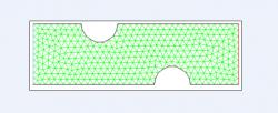 Figure 2. Two-dimensional cross section of grid with variable distance between constrictions, relative to control case. Specifically shown, a distance of 6 mm spans between two moderate constrictions (1.5 mm deep, 3 mm wide). Green lines represent triangular mesh, blue line designates velocity inlet, and red line designates pressure outlet. Model was created in Gambit for subsequent simulation in Fluent.