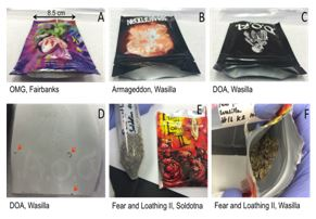 Figure 4. Discrepancies in packaging and contents of Spice samples.  Note the unsealed packages (A, B, and C; each package is 8.5 cm in width), the label on D.O.A. being a sticker (C and D), the foreign mate- rial on the backside of the sticker (D), as well as the difference in herbal substrate's appearance in Fear and Loathing II (E and F). Specifically, (F) contains blue petals and contains larger pieces of herbal substrate, while(E) contains finer pieces of herbal matter and lacks the blue petals.