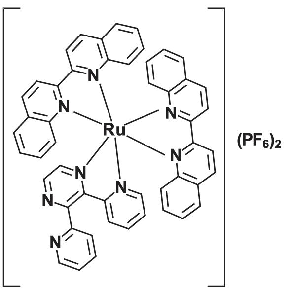 Figure 1. The structure of complex, [Ru(biq)2(dpp)](PF6)2 (biq = 2,2'-biquinoline, dpp = 2,3-bis(2-pyridyl)pyrazine).