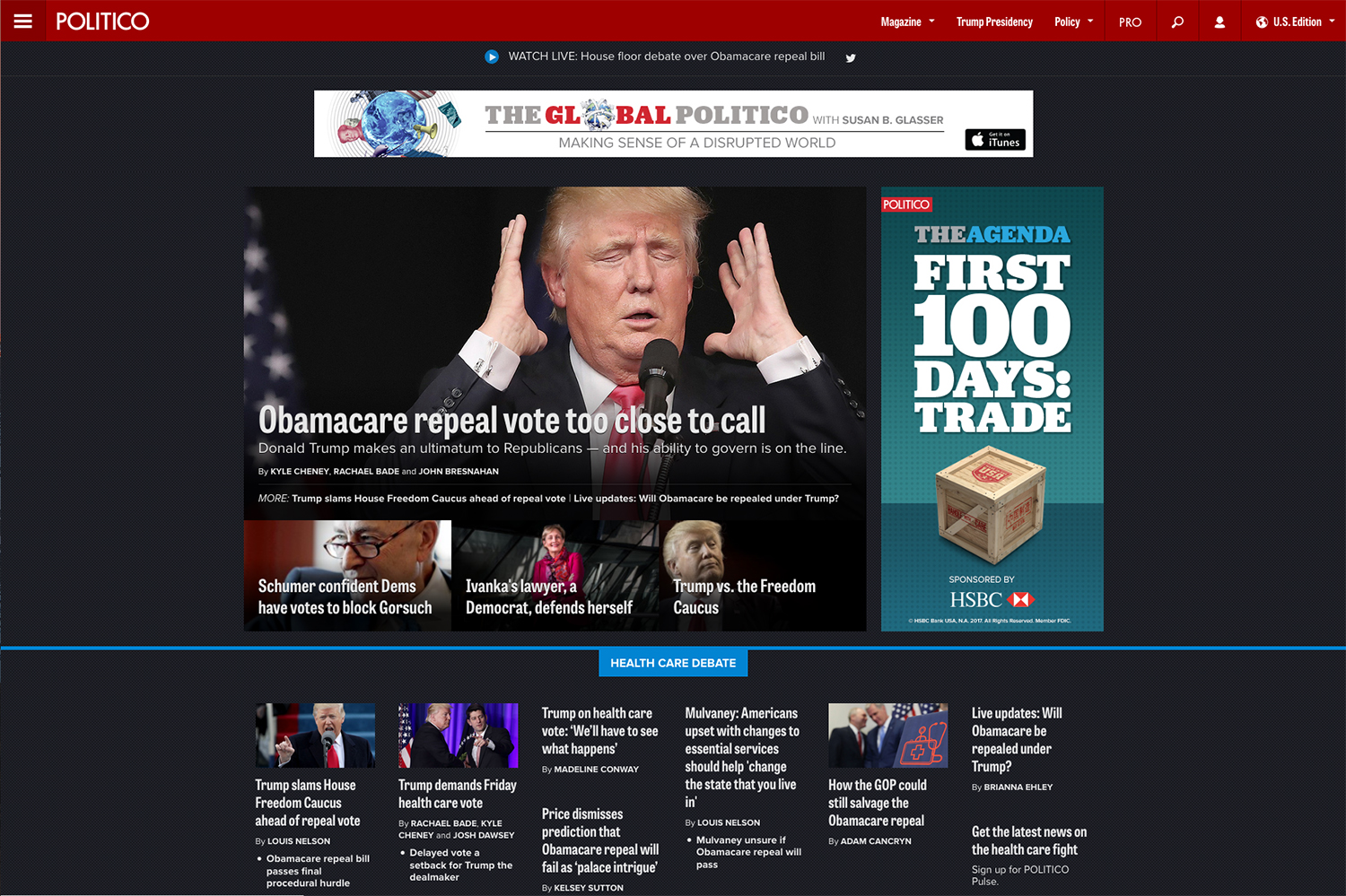 Banner ad and 300x600 pixel ad for Politico's (now improved) website