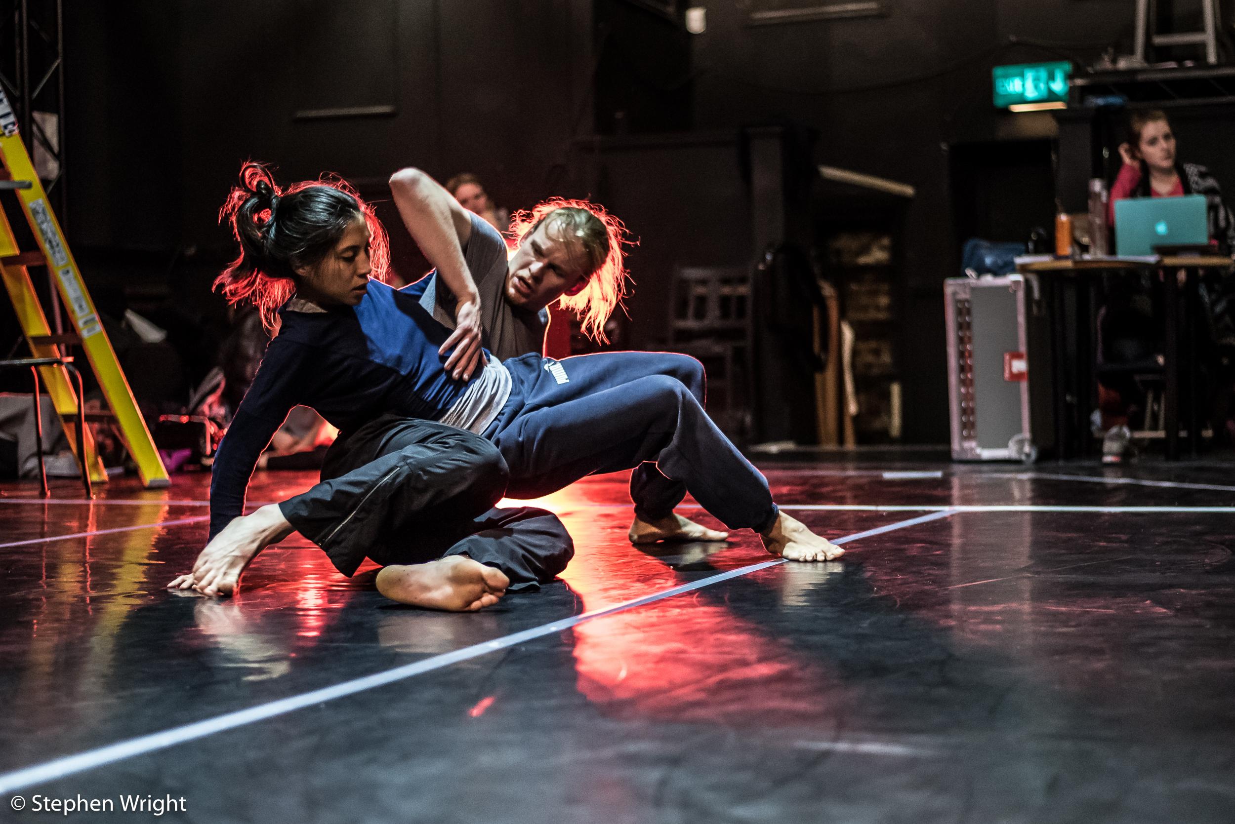 Estela Merlos  and  Rob Bridger  rehearsing   Terra  , choreographed by  Hubert Essakow  for  The Print Room .