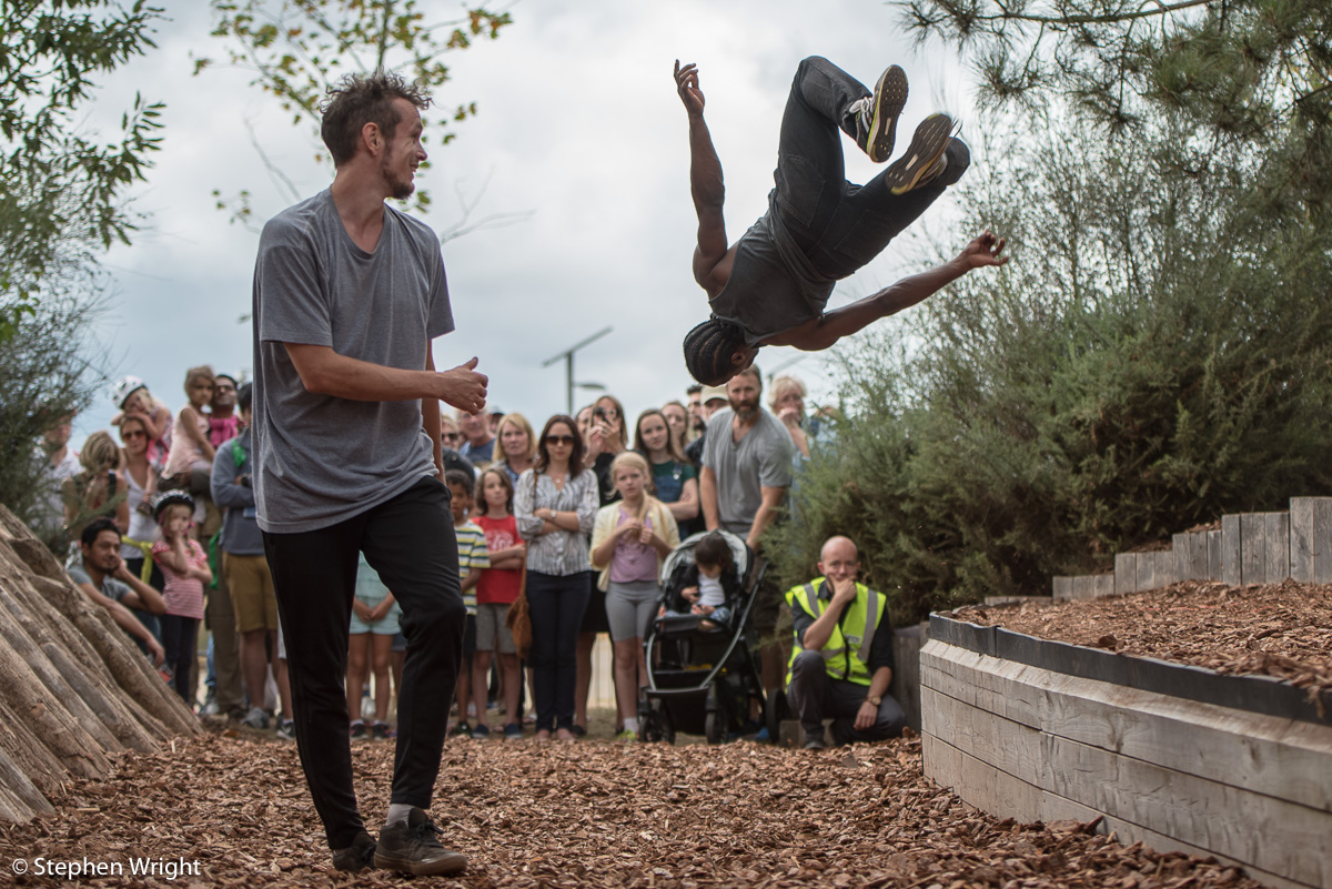 Jacob Smart  and  Eric Mitchell  in  Parkour Dance Company 's new work,  Sacred Sons  as part of  Evolving Landscapes  festival held in the  Queen Elizabeth Olympic Park .