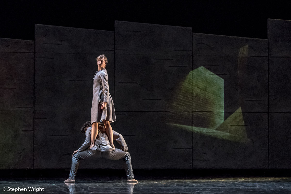 Miguel Altunaga  &  Edit Domoszlai  performing in  Rambert 's premiere of  Malgorzata Dzierzon 's new work  Flight  at  The Lowry .