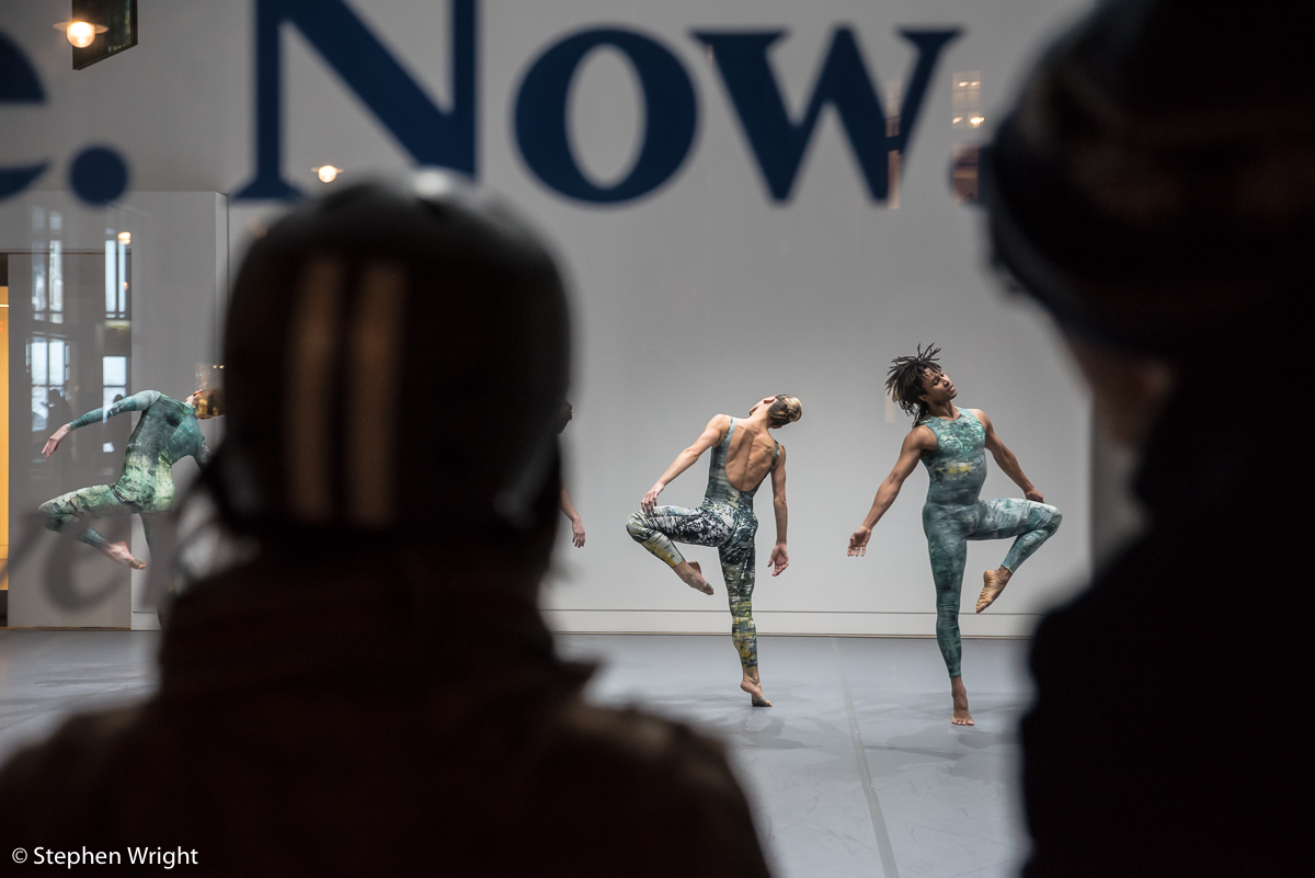 Daniel Davidson, Lucy Balfour  and  Miguel Altunaga  performing in the  Rambert Event  at  Phillips ' gallery London.