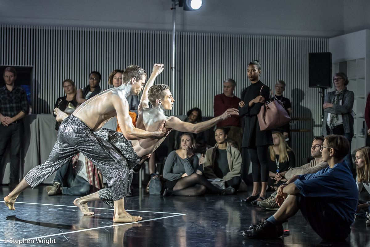 Adam Park  and  Daniel Davidson  in  Simone Damberg Würtz 's work , Tempus.  Performed as part of  In the Making  presented by  Rambert.
