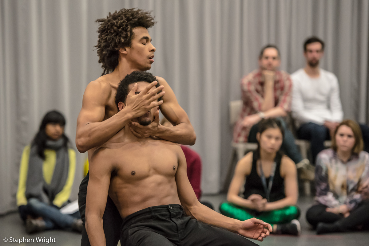 Liam Francis  and  Jacob O'Connell  in  Carolyn Bolton 's, Carbon Copy: Drawing the Circle .Performed as part of  In the Making presented by  Rambert.
