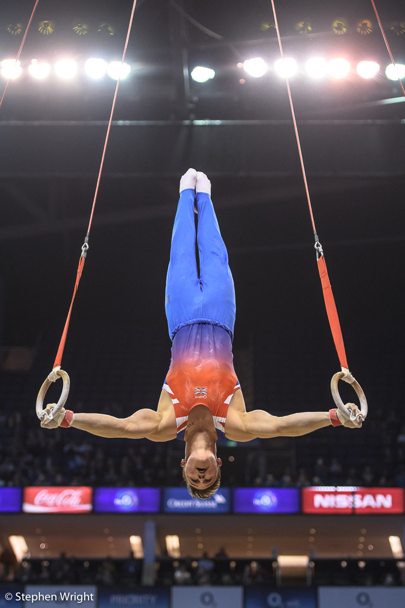 Brinn Bevan  competing at the  World Cup of Gymnastics  at the  O2 ,  London.
