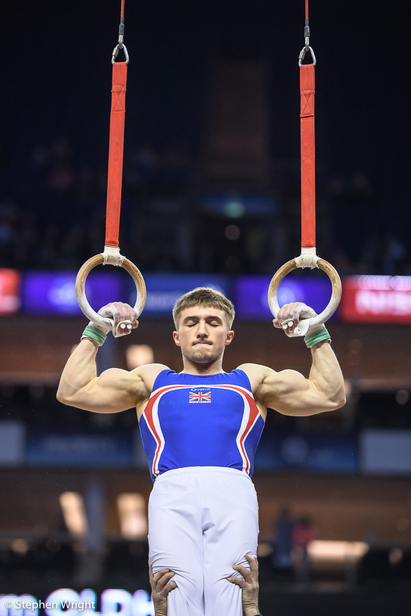 Sam Oldham  preparing for the Rings at the  World Cup of Gymnastics  at the  O2 ,  London.