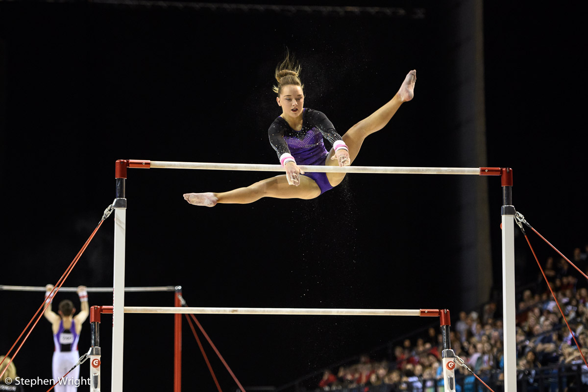 Amy Tinkler  flying on the Uneven Bars at the  British Championships 2017  held at the  Echo Arena ,  Liverpool .