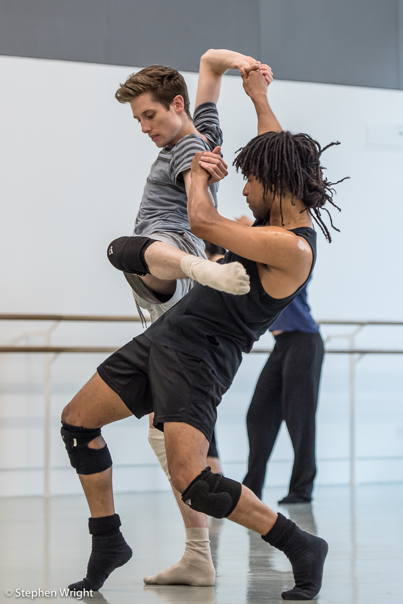 Daniel Davidson  and  Miguel Altunaga  in rehearsal for R ambert 's new work choreographed by  Andonis Foniadakis  .
