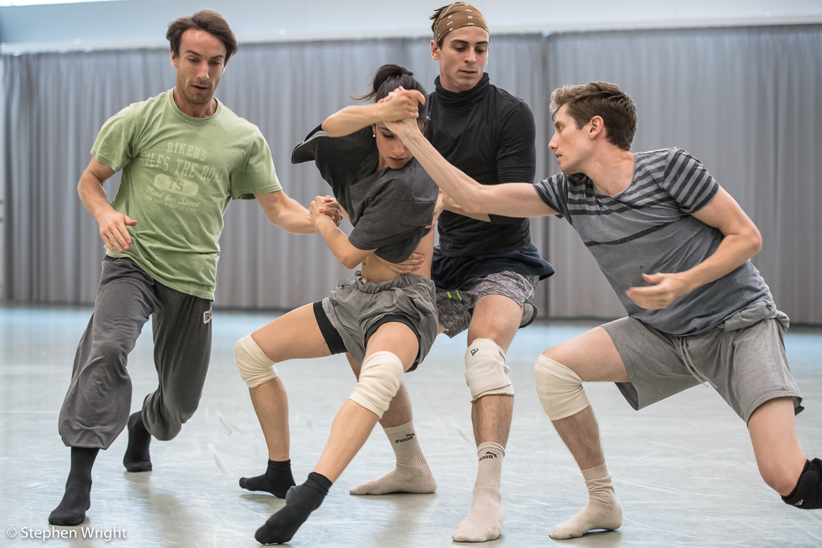 Pierre Tappon, Brenda Lee Grech, Juan Gil and Daniel Davidson  in rehearsal for R ambert 's new work choreographed by  Andonis Foniadakis  .