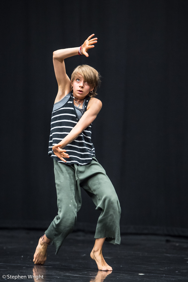 Hannah Mason  performing  James Gallego Olivio 's work-in-progress during the  Sadler's Wells Young Associates Summer School .