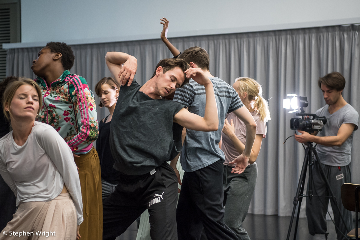 Rambert  company in rehearsal for  Rambert 's new work  Goat  choreographed by  Ben Duke .