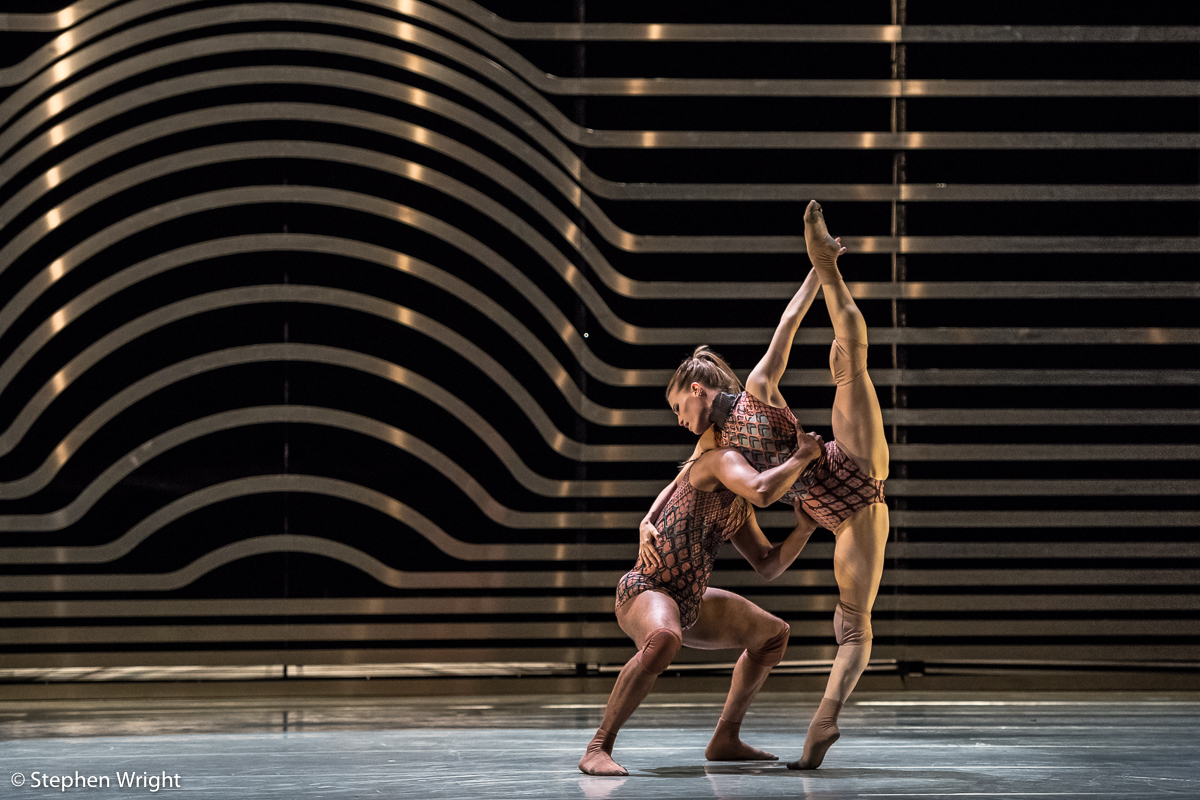 Miguel Altunaga  and  Hannah Rudd  performing  Rambert 's,  Symbiosis  choreographed by  Andonis Foniadakis .