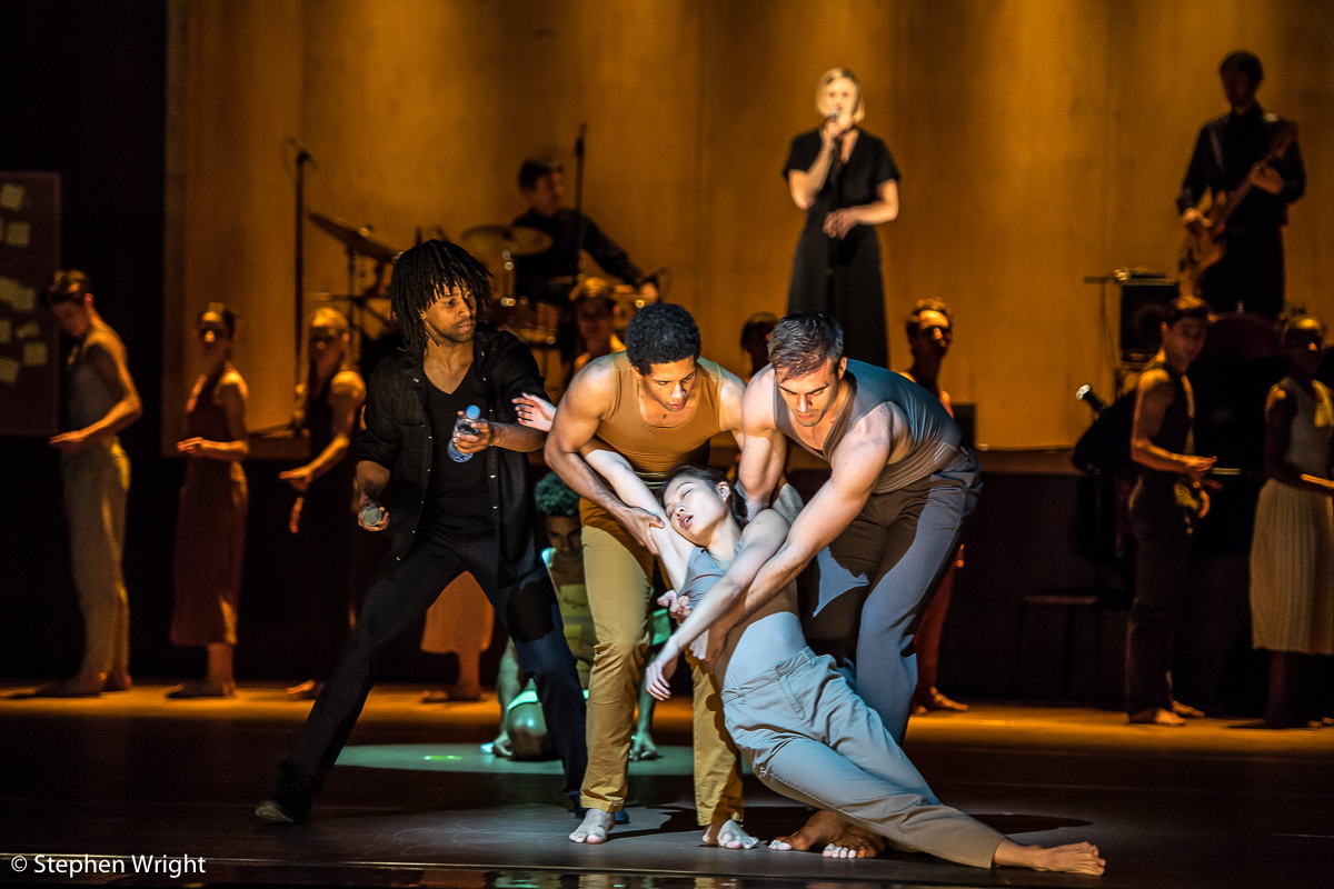 Miguel Altunaga ,  Stephen Quildan ,  Adam Park ,  Vanessa Kang  and dancers of the  Rambert  company perform  Goat  choreographed by  Ben Duke  for  Rambert .