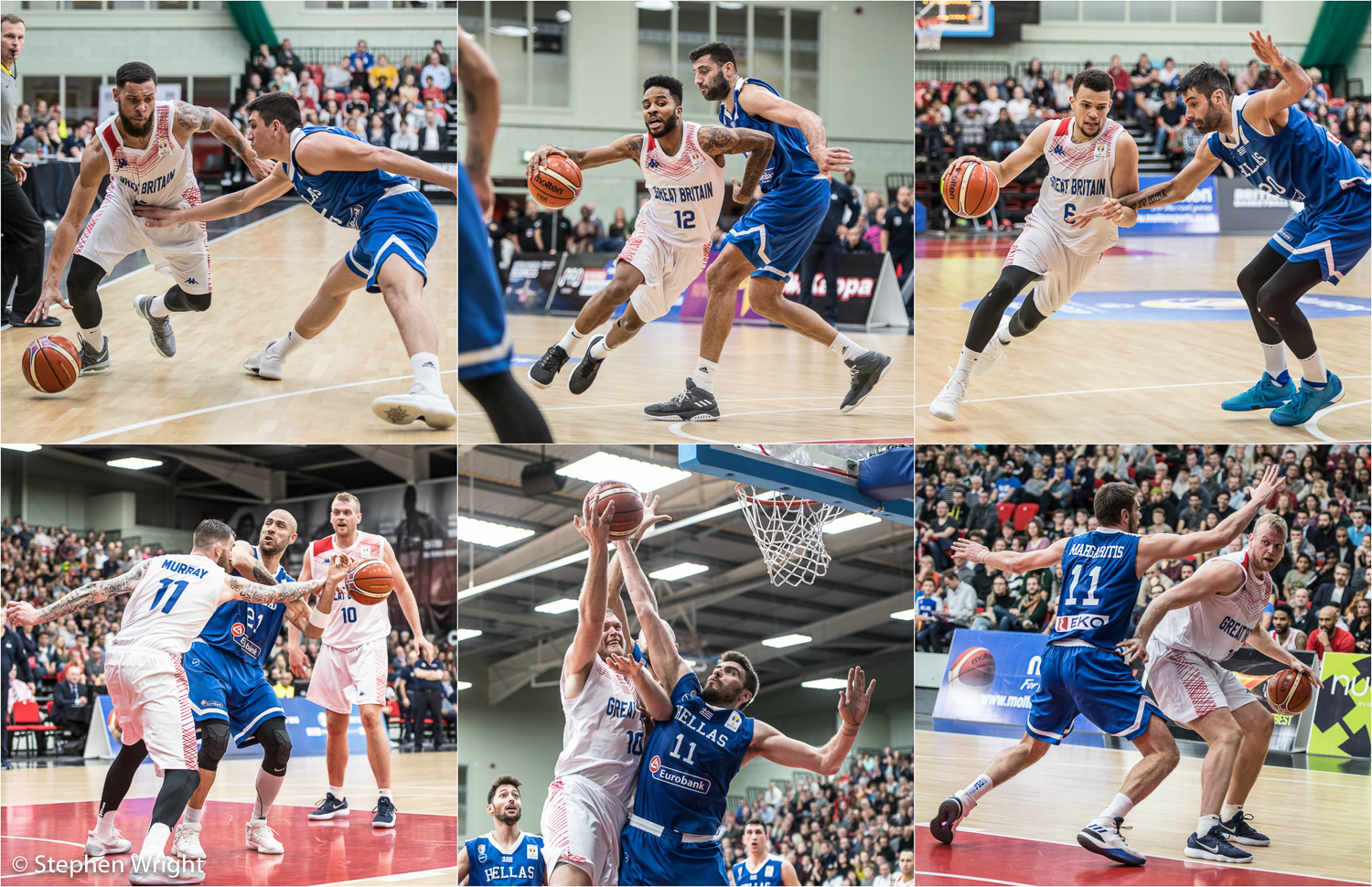 Action shots from the  FIBA Basketball World Cup  qualifiers between  Great Britain  and  Greece  at the  Leicester Arena .