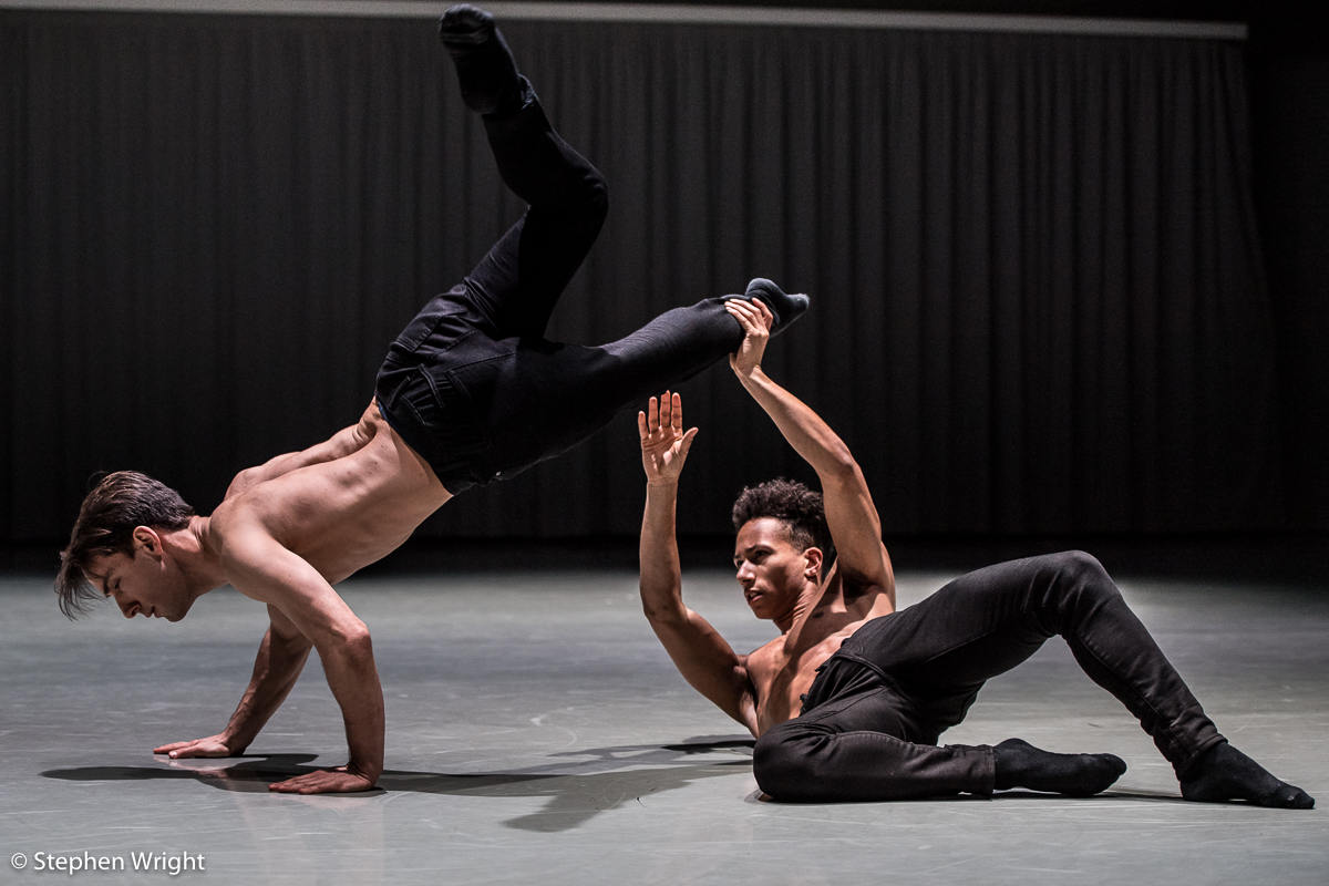 Pierre Tappon and  Jacob Wye performing  The Space Between Us  choreographed by  Luke Ahmet as part of  Rambert 's  In the Making 2018 .