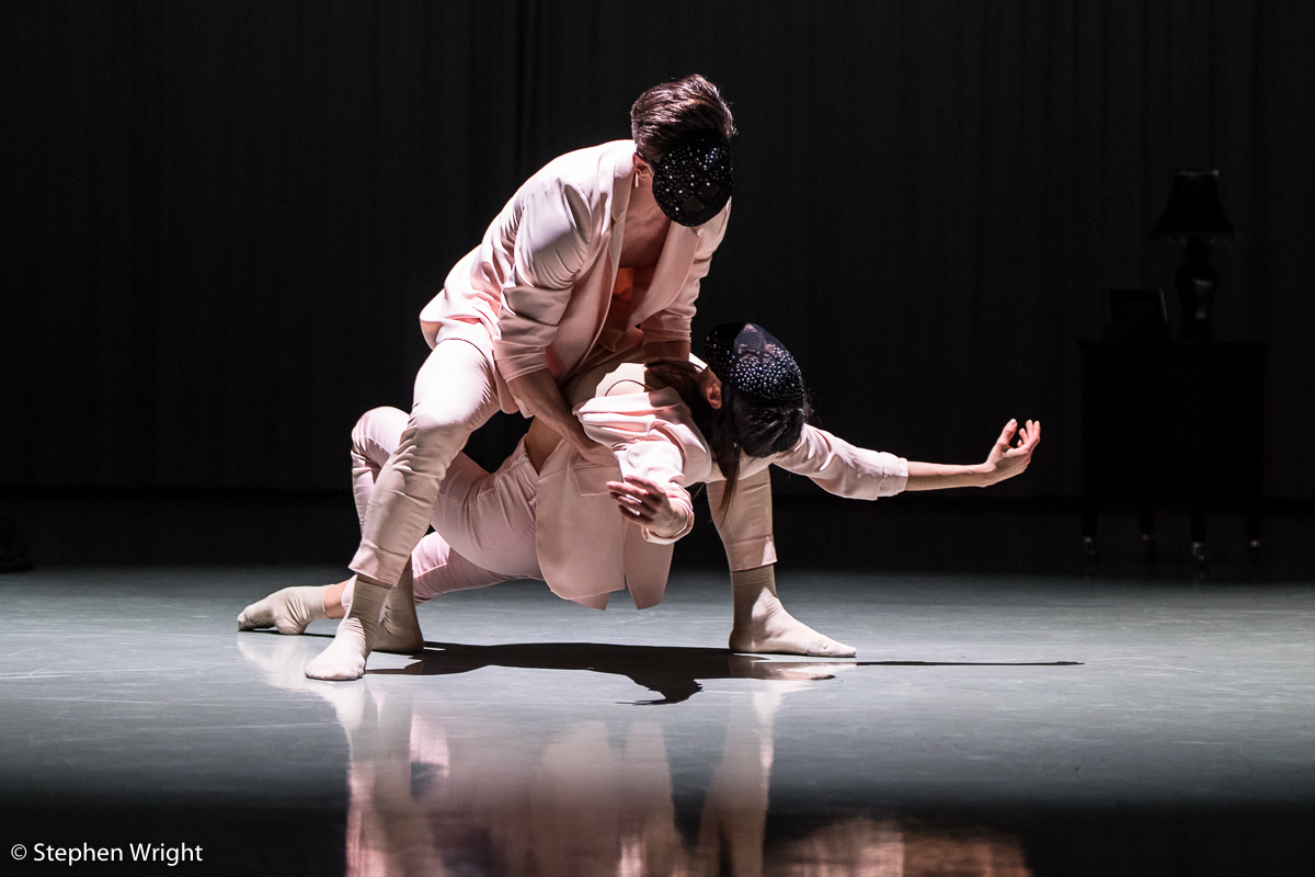 Juan Gil and  Brenda Lee-Grech  performing  DIAL/LOG  choreogeraphed by  Daniel Davidson as part of  Rambert 's  In the Making 2018 .