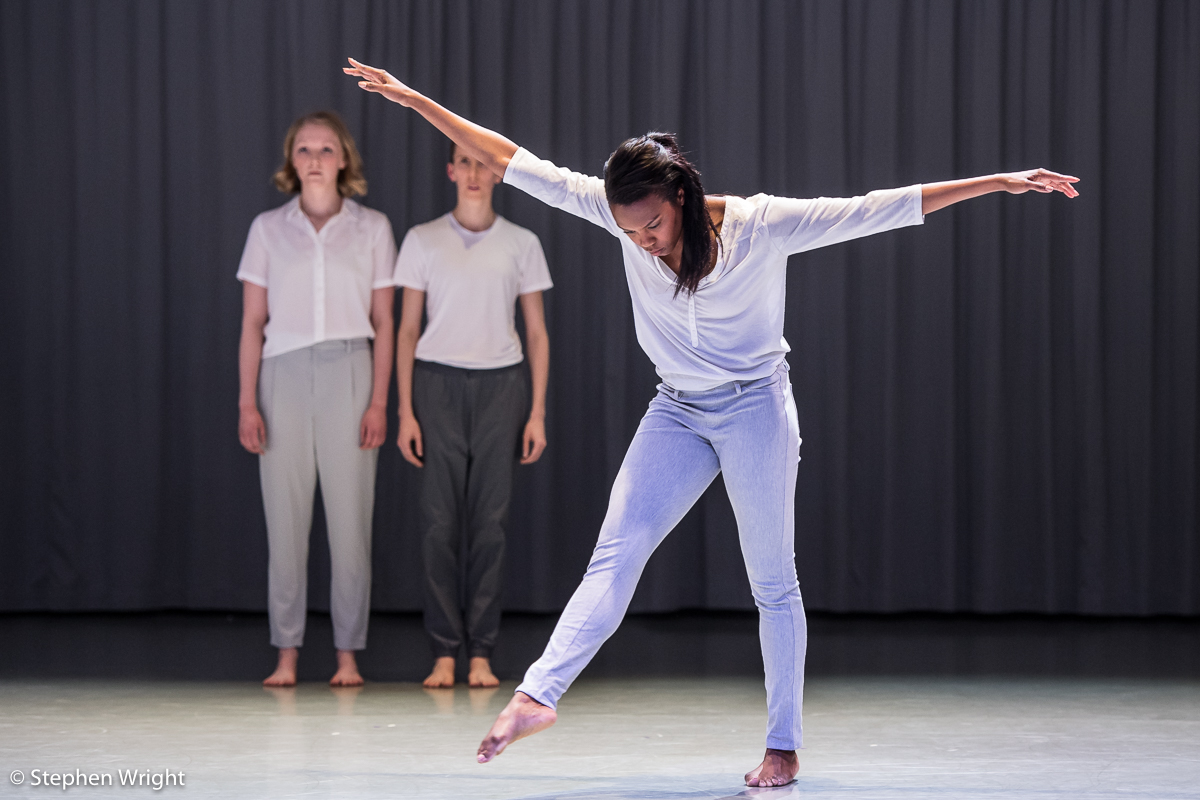 Hannah Burfield ,Julie Cunningham and  Carolyn Bolton  performing  Crave  by  Julie Cunningham as part of  Rambert 's  In the Making 2018 .