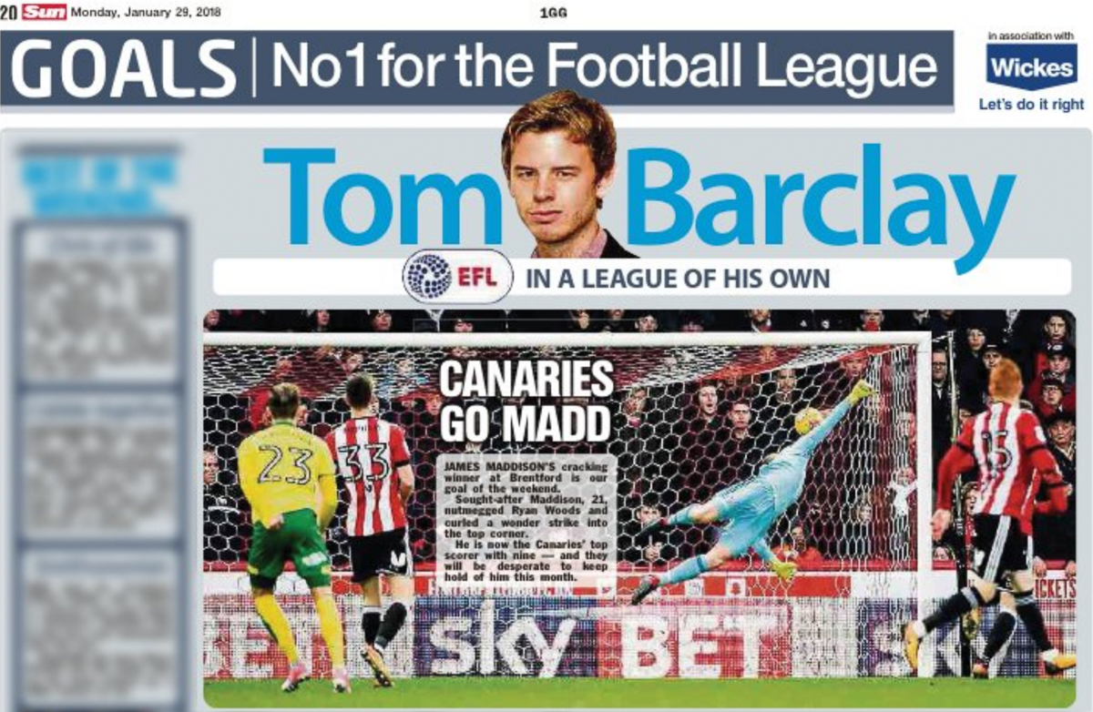 Publication in  The Sun on assignment for  Pro Sports Images .