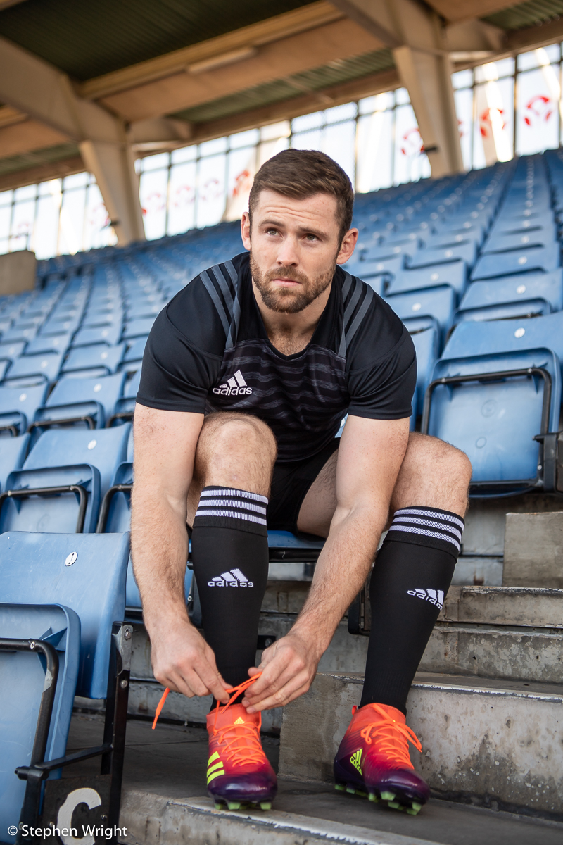 England Rugby player  Elliot Daly  launches the new design  Adidas  rugby boots ahead of the Autumn Internationals.