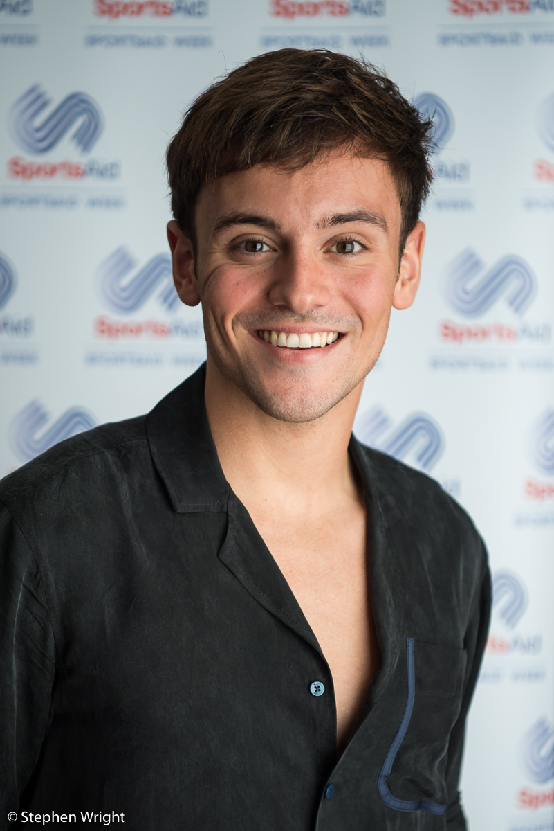 Tom Daley gives a interview as part of the  SportsAid Lunch Club  in Milton Keynes.