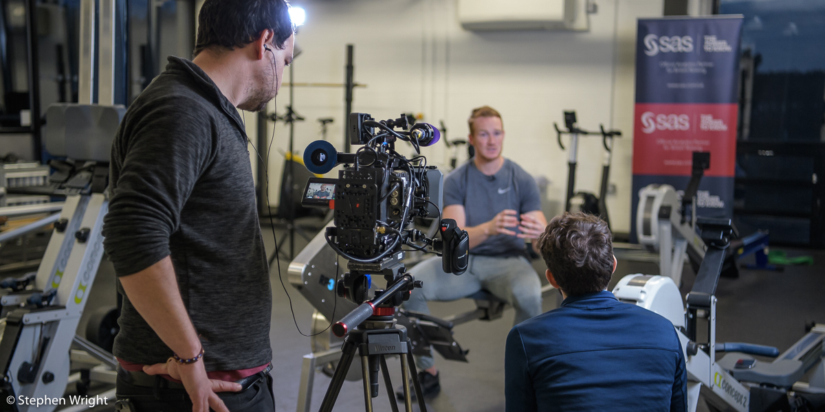 Greg Rutherford  is interviewed by the team at  Sportsbeat  on behalf of  British Rowing  and  SAS Analytics .