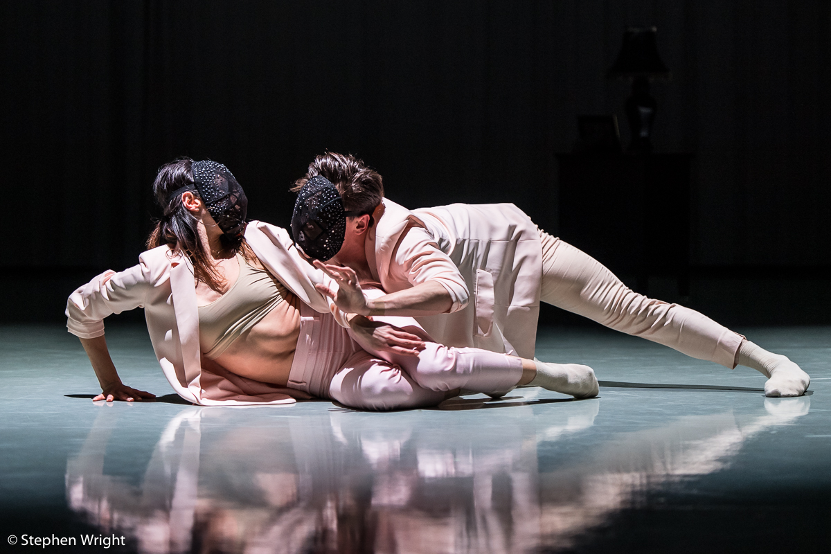 Juan Gil  and  Brenda Lee-Grech  performing  DIAL/LOG  choreographed by  Daniel Davidson  as part of  Rambert 's  In the Making  2018.