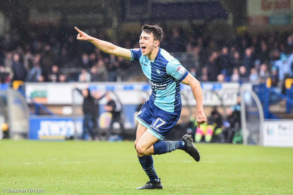 Luke O'Nien  of  Wycombe Wanderers  celebrates scoring.