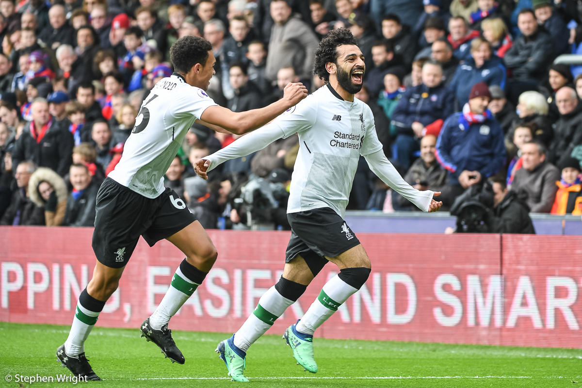 Mo Salah   of  Liverpool FC  celebrates scoring.
