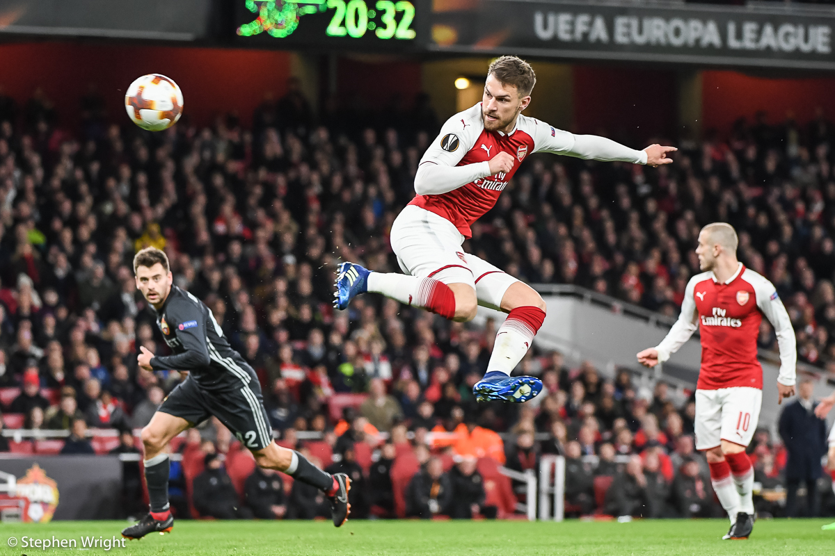 Aaron Ramsey  of  Arsenal  scores a wonder goal during the  Europa League  game against  CSKA Moscow .