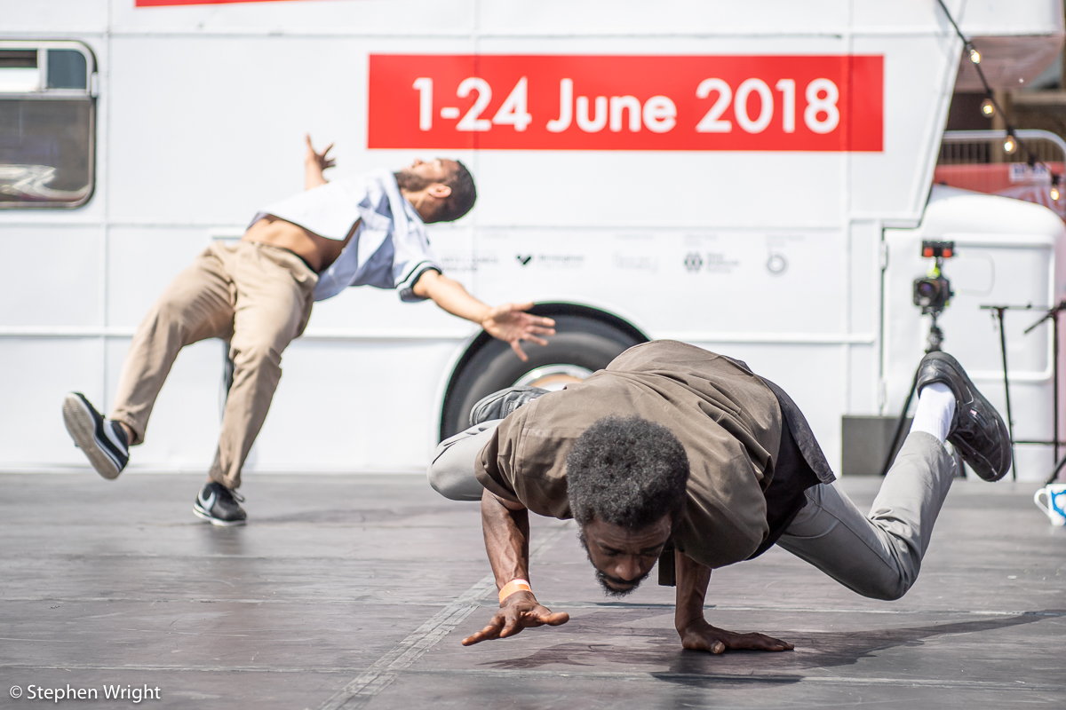T-Break  choreographed by  Mickael Marso Riviere  perform as part of  Birmingham International Dance Festival .