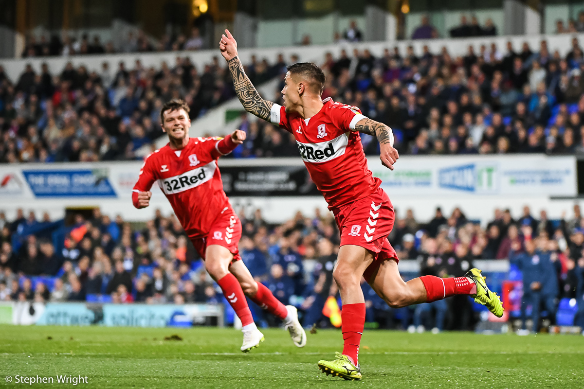 Mo Besic  of  Middlesbrough  celebrates scoring a goal (1-0) during the  EFL Sky Bet Championship  match against  Ipswich Town  at  Portman Road , Ipswich